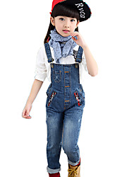 Girl's Cotton Spring/Autumn Fashion Jeans Pants Solid Color Zipper Pocket Suspender Trousers Patchwork Overalls