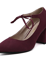 Women's Heels Spring / Fall Heels Fleece Party & Evening / Dress Chunky Heel Lace-up Black / Burgundy Others