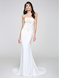 TS Couture® Formal Evening Dress Trumpet / Mermaid Strapless Court Train Chiffon with Pattern / Print