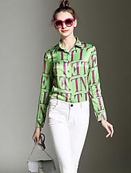 Chemise Aux femmes,Imprimé Sortie Vintage Toutes les Saisons Manches Longues Col de Chemise Vert Polyester Moyen