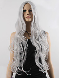 Fashion Natural Wavy Long Length Grey Color Popular Synthetic Wig For Woman Cosplay Wig.