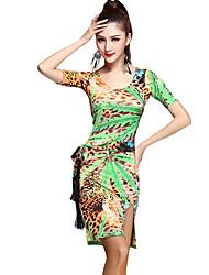 Vestidos(Verde / Rojo / Estampados de Leopardo,Rayón,Danza Latina) -Danza Latina- paraMujer Estampado/Patrón / Leopardo Entrenamiento