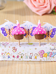 Party Decoration Happybirthday Birthday Candles Set (5 Pieces) Butterflies and Cakes Small Candle