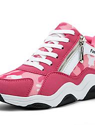 Красный / Тёмно-синий-Женская обувь-Для прогулок-Тюль-На плоской подошве-На плокой подошве-На плокой подошве