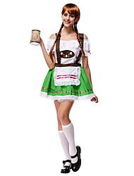 Costumes Déguisements de princesse / Plus de costumes Noël / Carnaval / Nouvel an Blanc & vert Couleur Pleine Térylène Robe / Chapeau