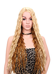 Blonde Brown Mixed Color Long Curly Women Wigs Synthetic Wigs