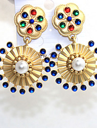 Drop Earrings Pearl Alloy Fashion Statement Jewelry Round Gold Jewelry Daily Casual 1 pair