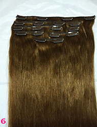 "15""#6 Light Brown  Clip In Remy Real Human Hair Extensions   8Pcs/70g"