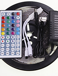 5M 16.4ft Waterproof RGB 300x5630 SMD LED  Flexible LED Light Strips +  44 Key IR 12V 2A Power Supply AC100-240V