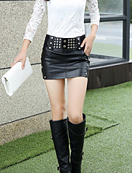 Women's Solid Black Skirts,Sexy Mini