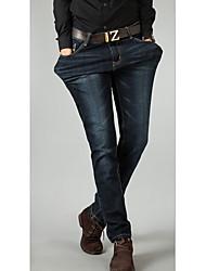 Herren Jeans-Einfarbig Freizeit Baumwolle Schwarz / Blau