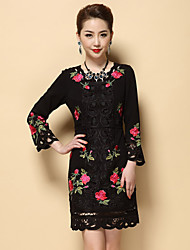 Women's Embroidery Boutique S Plus Size / Going out Chinoiserie Sheath Dress,Solid / Embroidered Round Neck Above Knee
