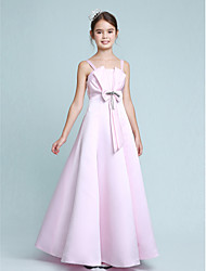 A-Line Princess Spaghetti Straps Floor Length Stretch Satin Junior Bridesmaid Dress with Beading Bow(s) by LAN TING BRIDE®