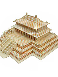 Jigsaw Puzzles 3D Puzzles / Wooden Puzzles Building Blocks DIY Toys Chinese Architecture Wood Beige Model & Building Toy