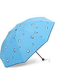 Azul / Rosa / Morado Paraguas de Doblar Soleado y lluvioso textil Viaje / Lady / Hombre