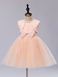 A-line Knee-length Flower Girl Dress - Satin / Tulle Sleeveless Jewel with Bow(s) / Sash / Ribbon