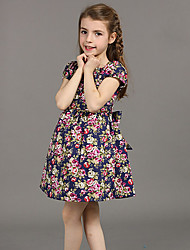 Girl's Casual/Daily Floral Dress,Rayon Summer Black / Blue / Beige
