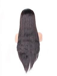 """8 """"-26"""" péruvien cheveux vierges droite perruque couleur de la perruque avant de lacet sans colle # 2 avec des cheveux de bébé pour les"""