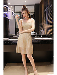 Women's Party/Cocktail Simple Swing Dress,Solid Strap Above Knee Sleeveless Gray / Gold Polyester Summer