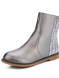Women's Boots Fall / Winter Fashion Boots Leatherette Dress / Casual Low Heel Zipper Black / White / Silver Walking