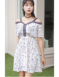 Women's Going out /Cute Chiffon Dress,Floral V Neck Above Knee Short Sleeve White Cotton Summer