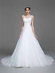 Lanting Bride® Fit & Flare Wedding Dress Chapel Train V-neck Tulle with Appliques