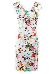 Moulante Robe Femme Décontracté / Quotidien Soirée / Cocktail Soirée Vintage Chic de Rue,Fleur Col en V Mi-long Sans Manches Blanc