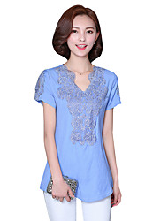 Summer Fall Plus Size Women's Casual Daily Shirt Embroidered V Neck Short Sleeve Cotton Linen Blouse