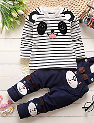 Boy's Cotton Spring/Autumn Fashion Cartoon Bear Print Casual Long Sleeve Shirt And Jeans Overalls Pants Two-piece Set