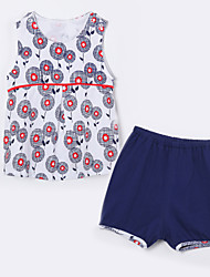 Baby Casual/Daily Print Clothing Set,Cotton Summer-Blue