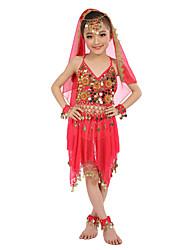 Dança do Ventre Roupa Crianças Actuação Cetim Chifom Poliéster Moedas de Ouro 8 Peças Sem Mangas Natural Blusa Saia Braceletes Tiaras Véu