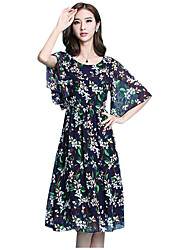 Summer/Fall Going out/Casual/Daily Women's Dresses Round Neck ½ Length Sleeve Floral Printing Chiffon Dress