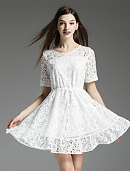 Boutique S Women's Casual/Daily Cute A Line Dress,Solid Round Neck Above Knee Short Sleeve White Polyester Summer