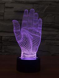 palm toque escurecimento 3D conduziu a luz da noite 7colorful decoração atmosfera lâmpada de luz de Natal iluminação novidade