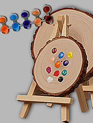 E-HOME® Personalized DIY Hand Drawn Natural Wood Wedding Gift - Round The Easel  (Includes 12 Ink Colors) Small Size