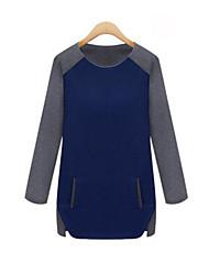Damen Patchwork Einfach Lässig/Alltäglich T-shirt,Rundhalsausschnitt Herbst Langarm Blau / Rot / Weiß Baumwolle Undurchsichtig
