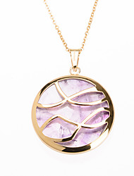 Fashion Purple Acrylic Inlay 316L Stainless Steel Pendant Necklace