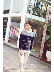 Men's Color Block Casual Pullover,Cotton Long Sleeve Black / Blue