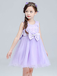 A-line Knee-length Flower Girl Dress - Cotton / Satin / Tulle Sleeveless Jewel with Bow(s) / Flower(s)