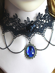 Gothic Fashion Vintage Black Lace Crystal Blue Gem Pendant Necklace Jewelry Women Sexy Accessories