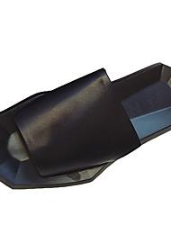 Damen-Slippers & Flip-Flops-Lässig-Leder-Flacher AbsatzSchwarz Weiß