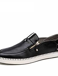 Черный Бордовый-Мужской-Для прогулок Повседневный Для занятий спортом-Кожа-На плоской подошве-Удобная обувь-Мокасины и Свитер