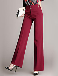 Women's Wide Leg Solid Blue / Red Business Pants,Street chic