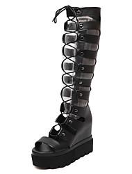 Feminino-Botas-Gladiador / Botas da Moda-Plataforma-Preto-Couro-Social / Festas & Noite