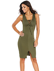Women's Lace-up Front Midi Dress