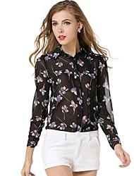 Damen Geometrisch Einfach / Street Schick Lässig/Alltäglich Bluse,Hemdkragen Sommer Langarm Schwarz Polyester Dünn