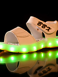 LED's Shoes Boy's Sandals Summer Sandals PU Casual Flat Heel LED Black / Blue / Brown / White Others