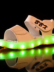 Para Meninos-Sandálias-Light Up Shoes-Rasteiro-Preto Azul Marrom Branco-Couro Ecológico-Casual