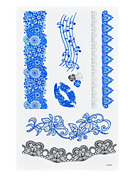 1pc Blue Silver Iridescent Colorful Temporary Metallic Tattoo Musical Note Sexy Lip Black Lace Rose BLS-002
