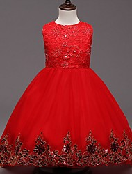 Girl's Going out Solid Dress,Cotton / Polyester All Seasons Red